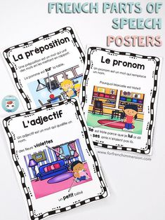 French Parts of Speech Resources: les classes de mots. Posters with 8 French parts of speech and fun practice with clip cards! Learn French Fast, How To Speak French, French Teacher, Teaching French, French Flashcards, Link And Learn, French Grammar, Core French, French Classroom