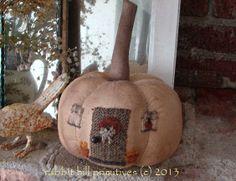 Orange Pumpkin Cottage #349 ~ rabbit hill primitives (c)
