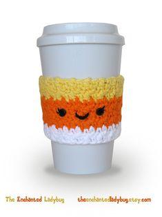 Crocheted Candy Corn Coffee Cup Cozy Handmade