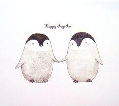 Pinguin Illustration Print einzigartige von mikaart auf Etsy: