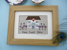 Home sweet home applique picture. A commission for a new home Freehand Machine Embroidery, Free Motion Embroidery, Embroidery Hoop Art, Cross Stitch Embroidery, Applique Cushions, Applique Fabric, Fabric Postcards, Fabric Cards, Crafts With Pictures