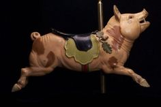 """Attributed to Gustav A. Dentzel Carousel Co., carved by Salvatore Cernigliaro """"Carousel Figure of a Pig."""" Museum of Fine Arts, Boston."""