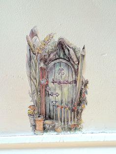 Fairy door wall decal fairy wall sticker pixie by SmockBallpoint Door Stickers, Wall Decal Sticker, Fairy Bedroom, Bedroom Decor, Bedroom For Girls Kids, Watercolor Walls, Watercolour, Pen Illustration, Wall Design