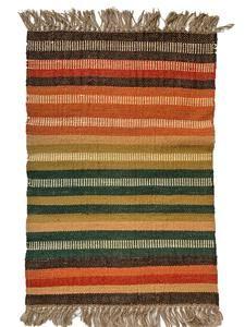 Exclusive Rainbow Stripes Handmade Kilim Rug matching Cushion Covers available- Natural Jute #ecofriendly #kilim #stripes #Rainbow