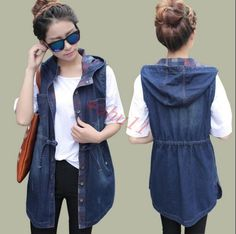 Womens Hooded Long Retro Jean Sleeveless Coat Denim Vests Jacket Korean NEW HOT Womens Hooded Long Retro Jean Sleeveless Coat Denim Vests Jacket Korean Hot Sleeveless Denim Jackets, Denim Vests, Sleeveless Coat, Denim Coat, College Casual, Stylish Eve Outfits, Trench Coat Outfit, Sheer Clothing, Ebay Clothing