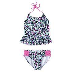 Xhilaration® Girls' 2-Piece Halter Leopard Print Tankini Swimsuit Set