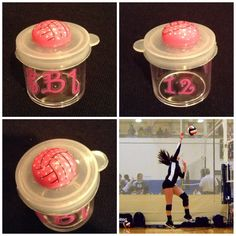 Perfect for volleyball players to store their earrings. Perfect player gift. Small container from dollar tree-volleyball E6000 glued to top-finished off with stickers of their # and monogram.