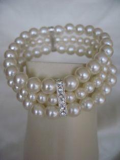 Triple Strand Pearl Bridal Bracelet with Crystal Rhinestone Design