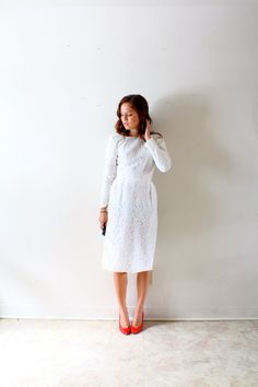 Vintage wedding dress lace long sleeve modern by ThisVintageGirl, $310.00