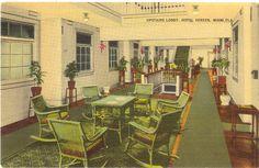 Vintage Florida Postcard - Miami - Hotel Vereen Upstairs Lobby Interior View. $3.25, via Etsy.