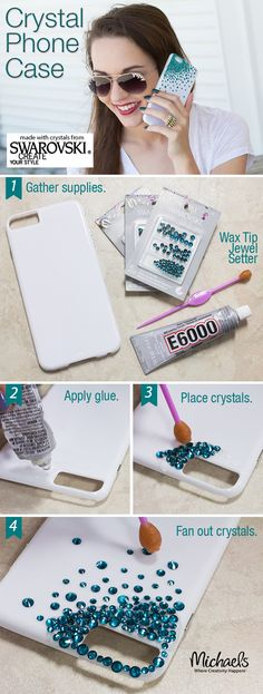 Cell Phone Cases - Add crystal bling to personalize a phone case for an easy DIY gift idea! - Welcome to the Cell Phone Cases Store, where you'll find great prices on a wide range of different cases for your cell phone (IPhone - Samsung) Cool Phone Cases, Iphone Phone Cases, Diy Cell Phone Case, Phone Cover Diy, Bling Phone Cases, Diy Coque, Diy Sharpie, Diy Y Manualidades, Diy Simple