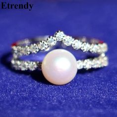Fine Jewelry Double Layers Pearl Sterling Silver Ring