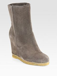 Stuart Weitzman Bootscout Suede Mid-Calf Wedge Boots