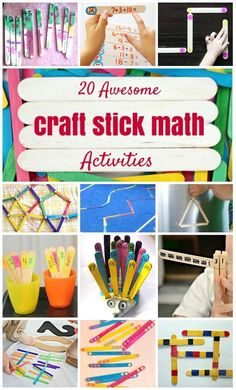 20 Awesome DIY Craft Stick Math Activities for Kids. Math Activities For Kids, Math For Kids, Math Games, Kids Learning, Math Classroom, Kindergarten Math, Teaching Math, Math Manipulatives, Numeracy