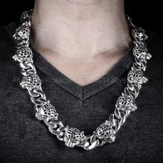 10mm cuban link necklace chains sterling silver and mens chain leopard head necklace mens silver mozeypictures Images