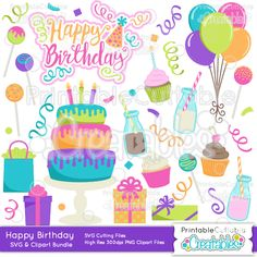 Happy Birthday SVG Cut Files & Clipart Bundle - Scrapbook cut files for your Silhouette or Cricut cutting machines! Commercial Use included! Printablecuttable... #scrapbooking #cardmaking #papercraft #vinylideas #vinylcrafts #cutfiles #cutfilessvg #cuttingfiles #svgfiles #scrapbookcutting #birthday #party #celebration #party
