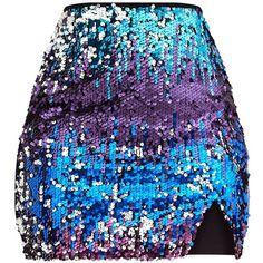 Purple Ombre Sequin Split Mini Skirt ($28) ❤ liked on Polyvore featuring skirts, mini skirts, bottoms, pretty little thing, sequined mini skirts, purple skirt, sequined skirts and short purple skirt