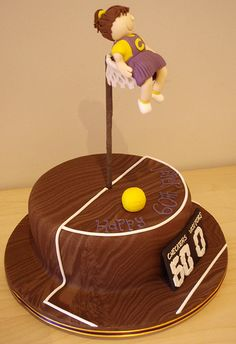 Netball Cake by Takes the Cake, via Flickr Got to show Erin this !!! Sports Birthday Cakes, Sports Themed Cakes, Themed Birthday Cakes, 9th Birthday, Birthday Parties, Happy Birthday, Cake Hacks, 50th Cake, Netball