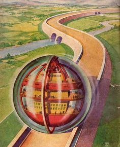 Globe city on enormous tracks? Rolf Armstrong, Gil Elvgren, Norman Rockwell, Claude Monet, Comics Illustration, Illustrations Vintage, The Frankenstein, World Of Tomorrow, Days Of Future Past