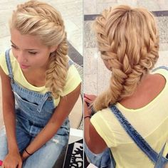Dual Fishtail Braids into a single side Fishtail Braid