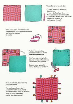 En dessin : confectionner un doudou plat à étiquettes // http://www.deco.fr/loisirs-creatifs/actualite-539884-fabriquer-doudou-plat-etiquettes.html
