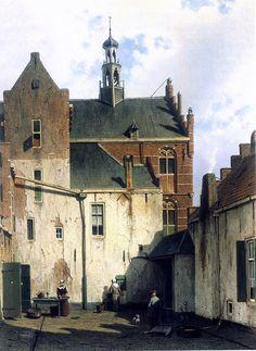 View at the westerly façade of the town hall at Wagenweg, by Jan Weissenbruch Binnenplaats bij het stadhuis