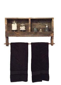 Reclaimed Wood Towel Holder Rack Bathroom Shelves