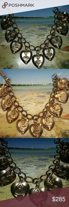 Rare Vintage dangle heart ballerina charm bracelet RARE Vintage dangle hearts and ballerina dancing charm goldtone bracelet Jewelry Bracelets