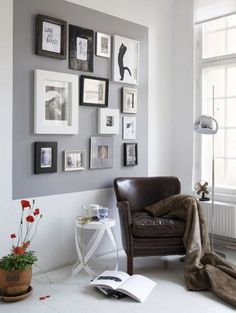 painted square with pictures- Great to do in apartments.. Adds a pop of color & you won't have to paint back the whole wall!