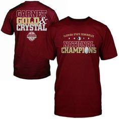 Florida State Seminoles (FSU) 2013 BCS National Champions Garnet Gold & Crystal T-Shirt - Garnet