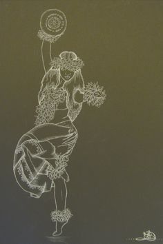 Kahiko Hula Hawaiian Art, Nordic Tattoo, Cow Skull Decor, Dancing Drawings, Hula Girl Tattoos, Art, Hawaii Art, Polynesian Art, Island Art