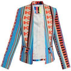 MSGM Aztec geometric-print jacket ($651) ❤ liked on Polyvore