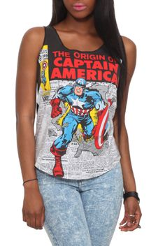 """Cut-off style racer back tank top with oversized """"The Origin Of Captain America"""" design."""