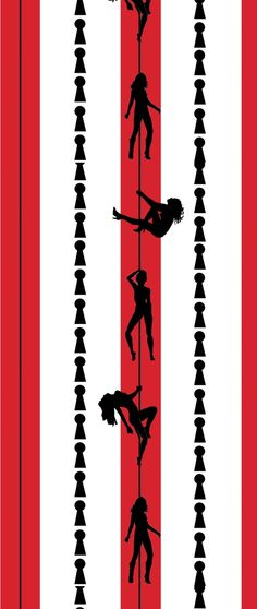 The Paris Exotic Dancer & Pole Wall Paper Pattern [DIG-19779] : Designer Wallcoverings, Specialty Wallpaper for Home or Office