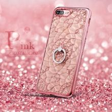 Coque For iPhone 7 Case Pink Glitter 3D Flower Plating Case Soft Plastic TPU Rhinestone Ring Cover For iPhone 6s Crystal Case(China (Mainland))