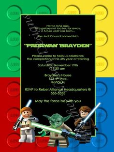 Lego Birthday Invitation Movie Star By HappyBarnGifts