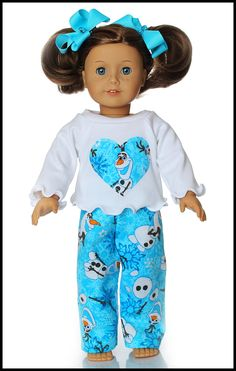 18 inch American Girl Doll Clothes Olaf Flannel Pajamas by wildbydesignboutique on Etsy