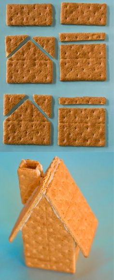 When making a gingerbread house, cut the graham crackers accordingly. Def substitute gingerbread with graham crackers. Graham Cracker House, Graham Cracker Gingerbread House, Gingerbread House Parties, Christmas Gingerbread House, Diy Gingerbread Houses, Homemade Gingerbread House, Gingerbread House Patterns, Gingerbread Cookies, Christmas Goodies