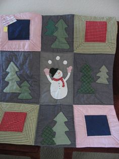 Christmas Snowman Quilted Wall Hanging