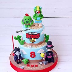 7th Birthday Cakes, Happy Birthday, Star Cakes, Creative Cakes, Cake Art, Birthdays, Minimal, Desserts, Kids