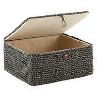 Grey Crochet Storage Box with Hinged Lid