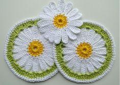 Patrones Crochet: Posavasos Margaritas de Crochet