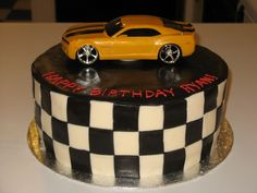 Awesome checkered cake with car on top!