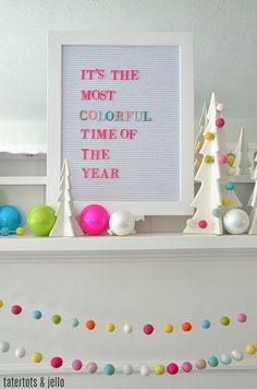 Colorful Mantel Christmas Home Decor I thought it would be FUN to share tips and tricks for a COLORFUL modern holiday mantel! You can put this mantel together in under a couple of hours. Merry Little Christmas, Modern Christmas, Retro Christmas, Christmas Love, Christmas Colors, Christmas Themes, All Things Christmas, Christmas Holidays, Christmas Crafts