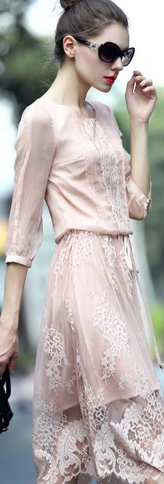Pink Drawstring Waist Lace Dress