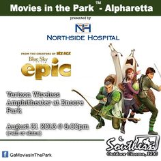 August 31 - Movies in the Park™ - Alpharetta / Johns Creek. For a list of free outdoor movies around Atlanta: www.facebook.com/GaMoviesInThePark