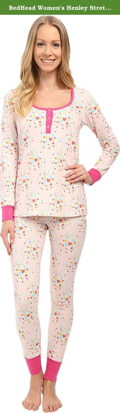 BedHead Women's Henley Stretch PJ Set Confetti Hearts Pajama Set LG (US 12-14). Pullover top has a round neckline with henley button placket and straight hemline. Banded cuffs at long sleeves. Long john-style pajama pant sports an elasticized waistband and banded cuffs. Lower rise. Faux three-button fly. 95% cotton, 5% spandex. Machine wash cold, tumble dry low. Made in the.