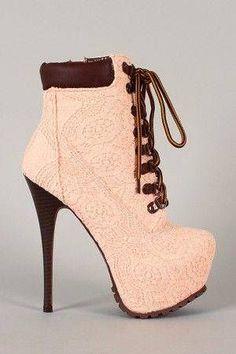 #Jennifer-5 Crochet Lace Up Platform Bootie $90.00