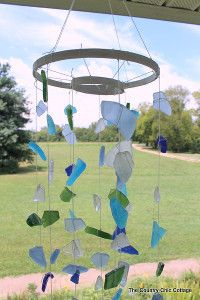 Sea Glass Wind Chime Wind Chimes Craft, Glass Wind Chimes, Sea Glass Crafts, Sea Glass Art, Stained Glass, Wind Spinners, Theme Nature, Country Chic Cottage, Beach Crafts