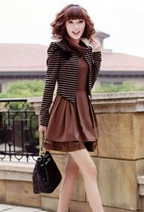 J9821 Princess Sleeve Stripes Coat and Turtle Neck Dress Two Pieces